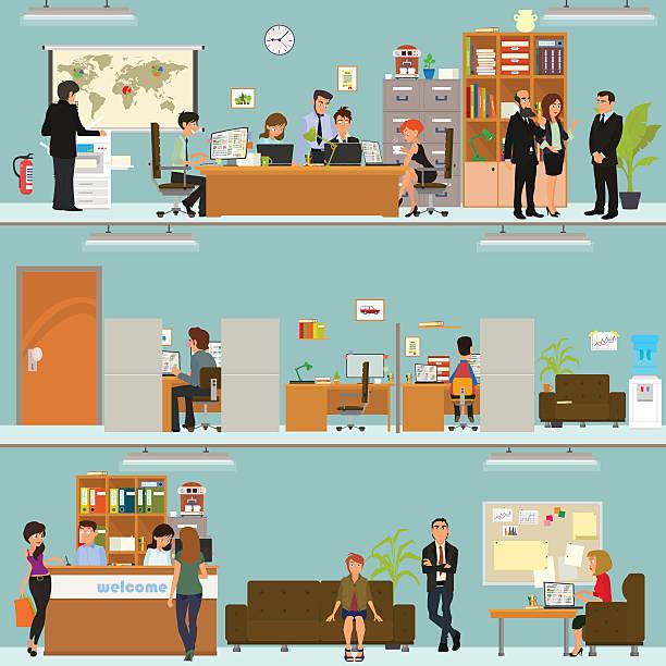 Scènes de personnes travaillant au bureau - Illustration vectorielle