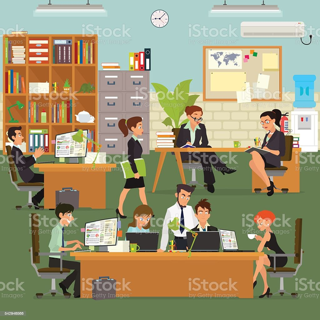 scenes of people working in the office. vector art illustration