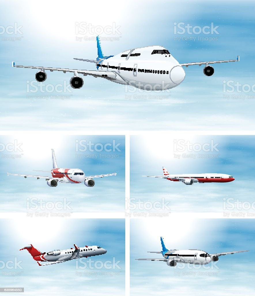 Scenes with airplane in the sky vector art illustration