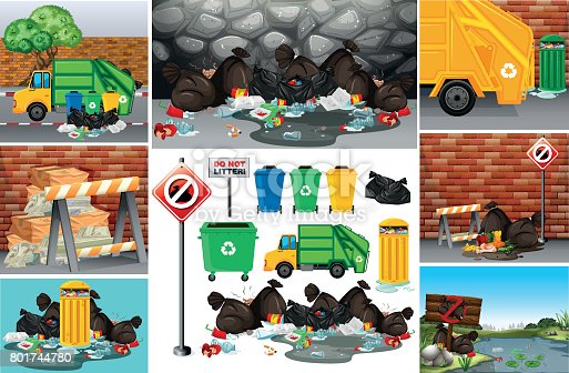 istock Scenes with dirty trash on the road 801744780