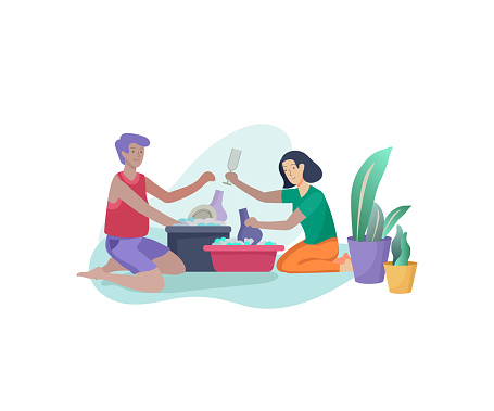 Washing Dishes Cartoon Images, Stock Photos & Vectors | Shutterstock