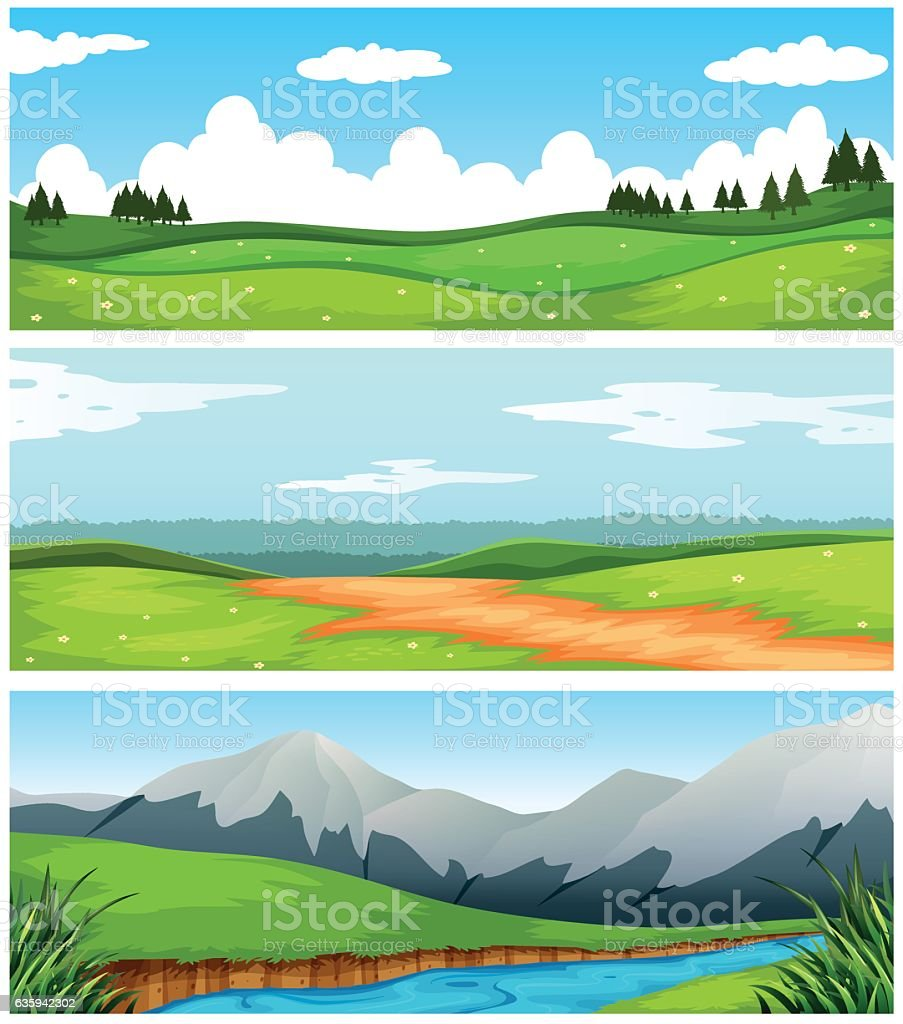 Scenes with field and road in countryside vector art illustration