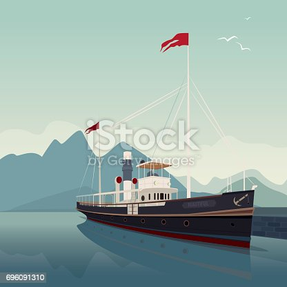 Scenic area with old cruise ship in style of retro steamer, at pier, on clear day. In the background is natural mountain landscape. Realistic flat style. Square size