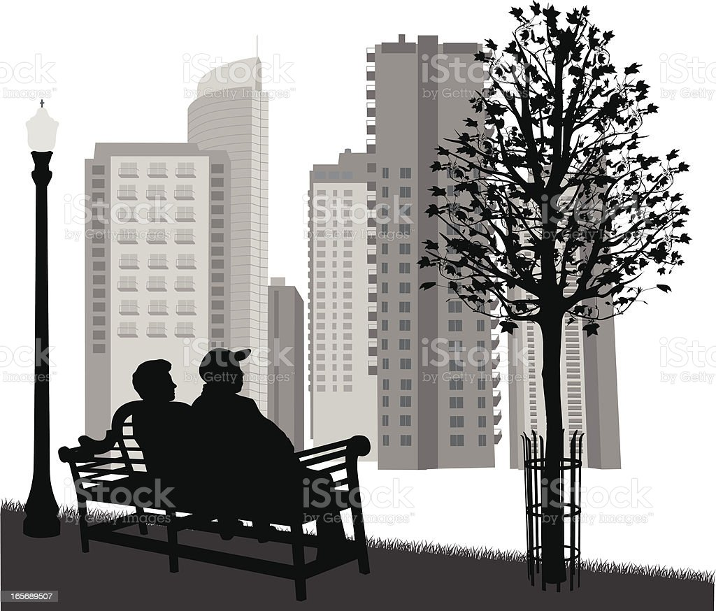 Scenic Bench Vector Silhouette royalty-free stock vector art