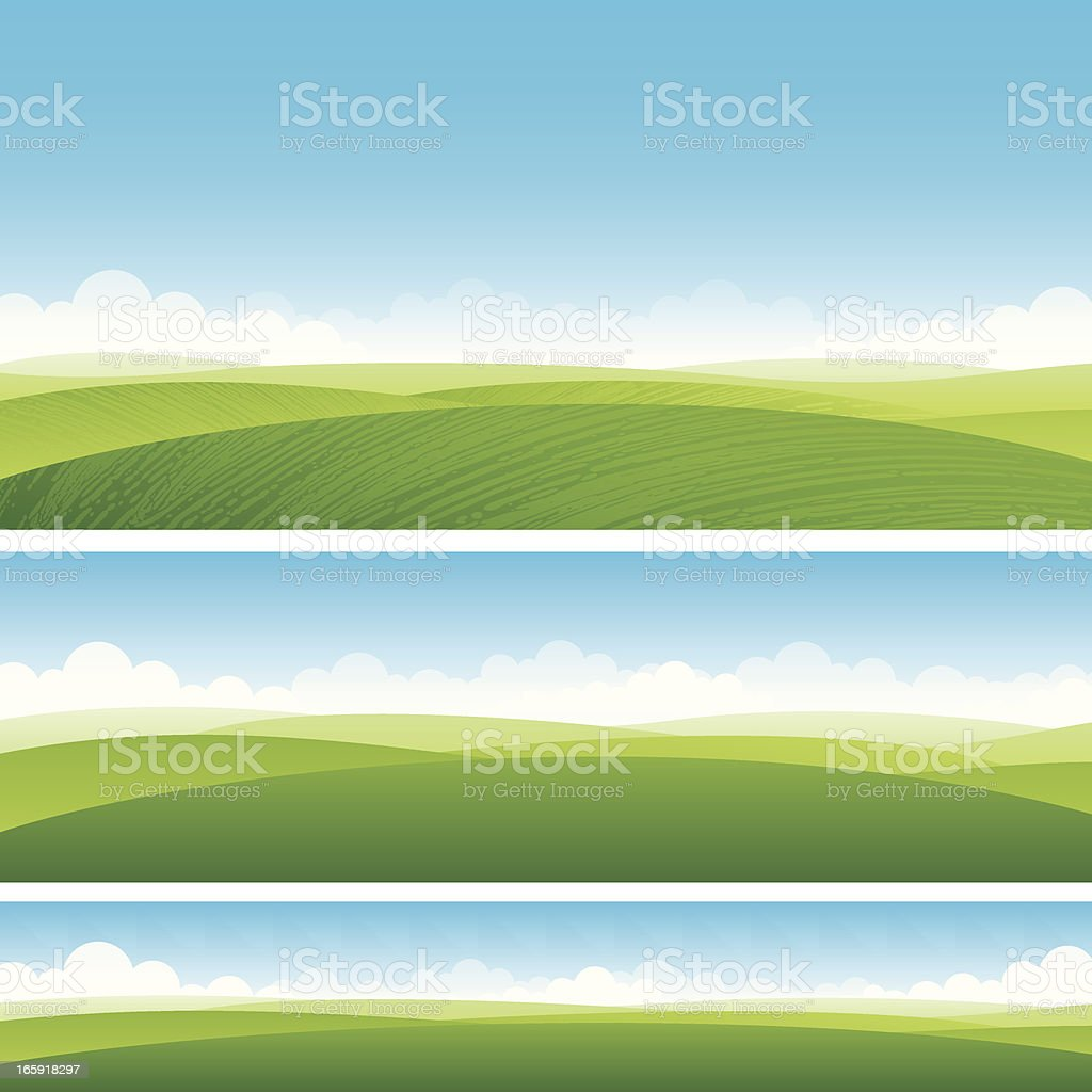 Scenic fields background vector art illustration