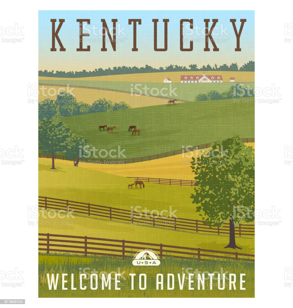 Scenic Kentucky landscape with rolling hills, horses and fences and stables. vector art illustration