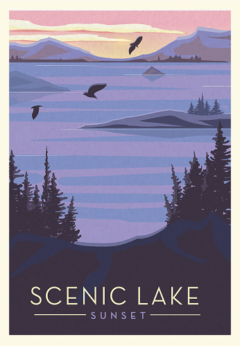 Vector illustration of a Scenic Lake with birds and sun setting scenic poster design with text. Vintage texture overlay. Fully editable EPS 10.