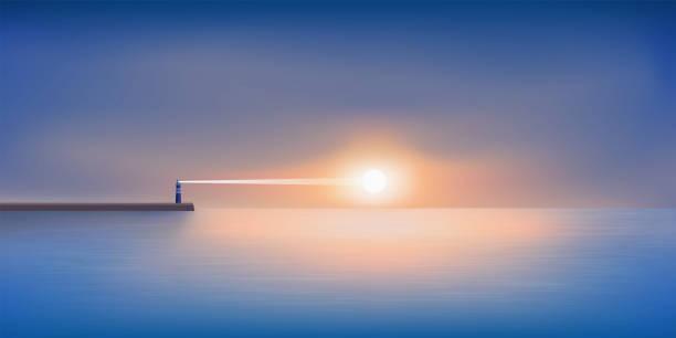 illustrazioni stock, clip art, cartoni animati e icone di tendenza di paesaggio panoramico che mostra un faro all'alba con il sole che appare all'horison. - ambientazione tranquilla