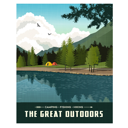 Scenic landscape with mountains, forest and lake with camping tents. Summer travel poster or sticker design.