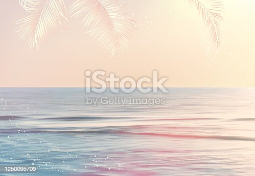 Scenic pink and yellow ocean sunrise view vector design texture. Tranquil costline horizontal panorama card. Idyllic sea in the morning. Wedding invitation landscape template. Elements are editable.