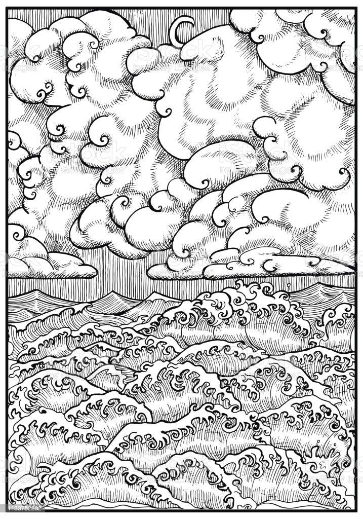 Vector nautical illustration of hurricane, t-shirt graphic design