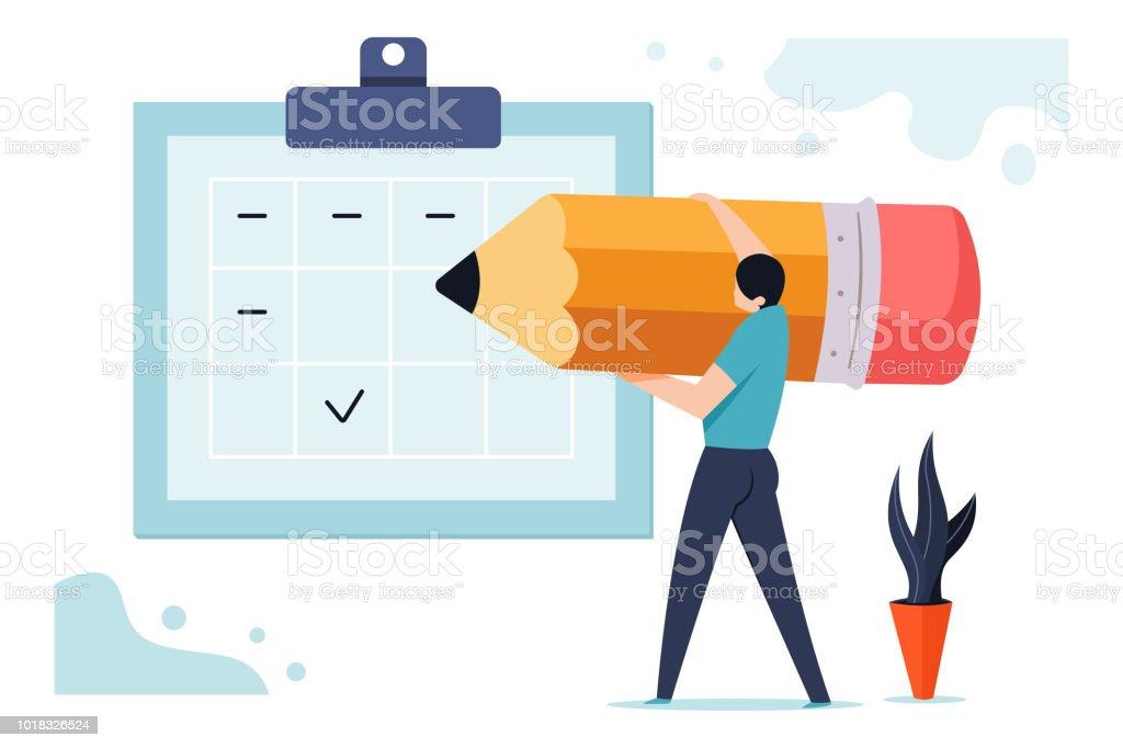 予定表に近い鉛筆で男と基板のベクトルのビジネス概念図をスケジュールします。 ベクターアートイラスト