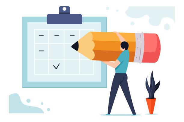 予定表に近い鉛筆で男と基板のベクトルのビジネス概念図をスケジュールします。 - トレーニングのカレンダー点のイラスト素材/クリップアート素材/マンガ素材/アイコン素材