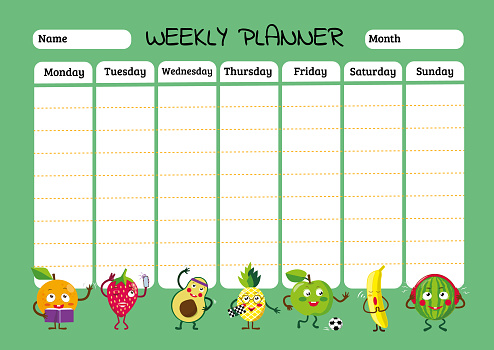Schedule design template. Childrens weekly planner and school timetable with cool fruits in cartoon style