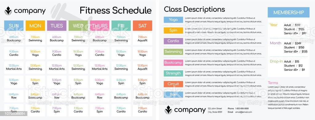 Cronograma de aulas em um ginásio do clube de Fitness - ilustração de arte em vetor