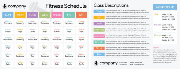 schedule for classes at a fitness club gym - workout calendar stock illustrations, clip art, cartoons, & icons