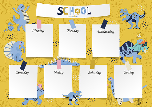 Schedule for the student in the form of board training and stickers with space for notes. School timetable, weekly schedule vector template with cute cartoon dinosaurs, dino eggs on yellow background.