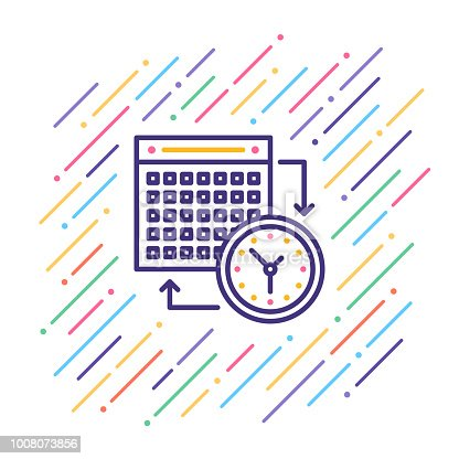 Line vector illustration of calendar date.