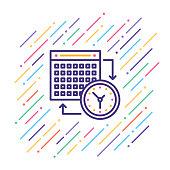 Line vector illustration of calendar date.