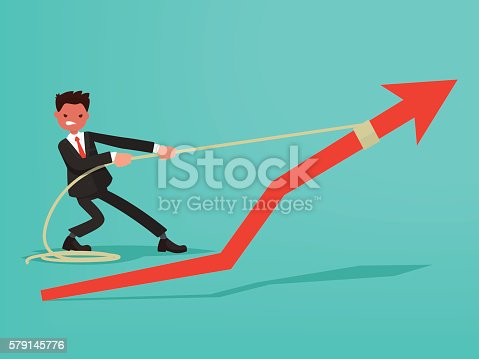 Schedule of sales. Businessman makes an effort to grow sales. Vector illustration of a flat design