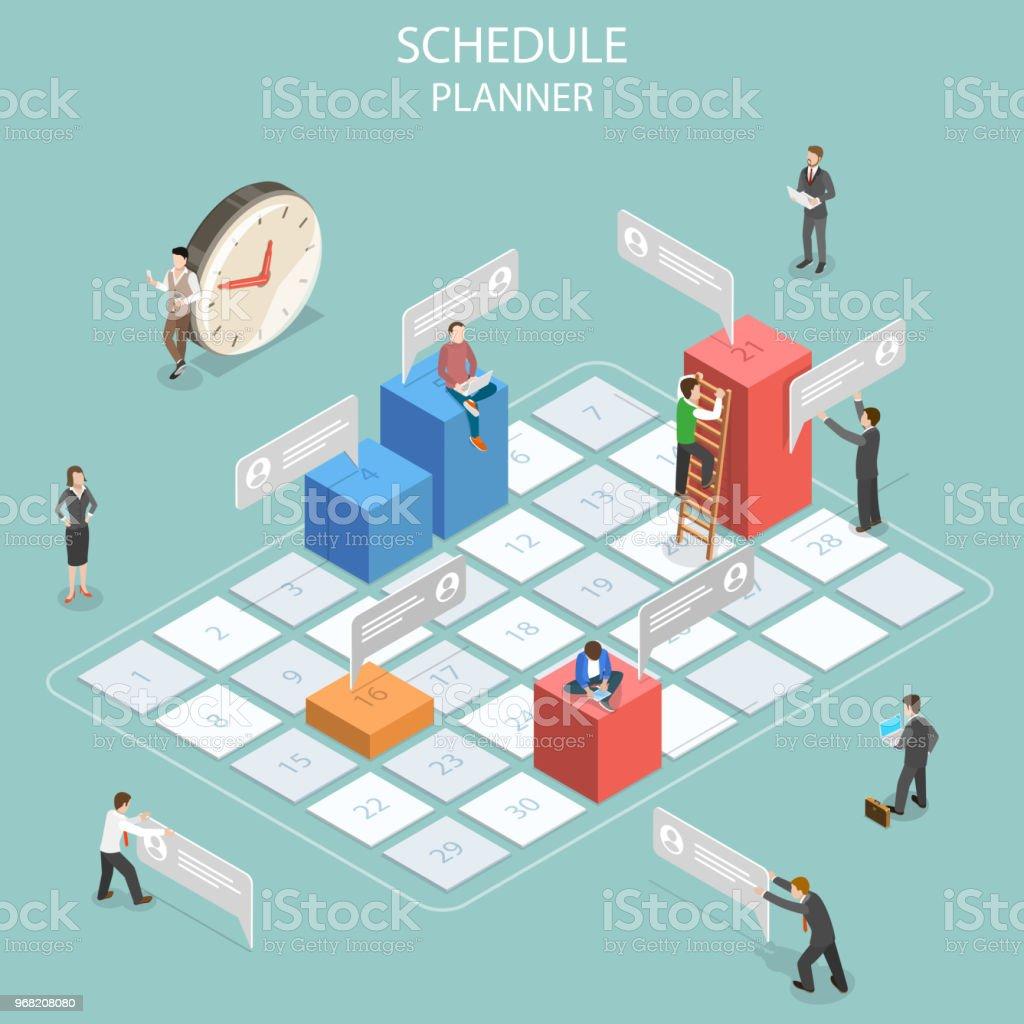 Schedule planner flat isometric vector concept. vector art illustration