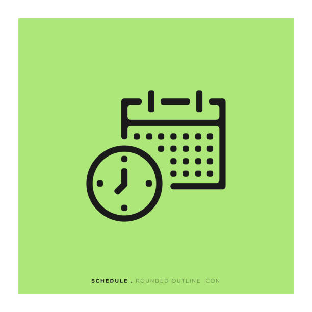 Schedule Rounded Line Icon Schedule Rounded Line Icon dating stock illustrations