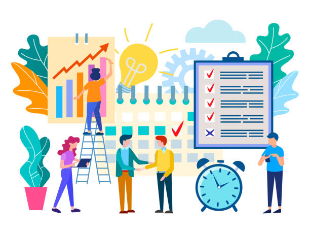 illustrations, cliparts, dessins animés et icônes de à la demande de réunion dans le bureau, le partenariat entre les entreprises, résoudre les tâches de travail, travail d'équipe, fait un pacte. - entrepreneur