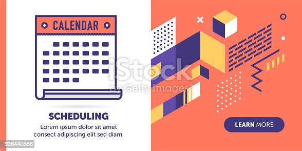 Calendar vector banner illustration also contains icon for the topic.