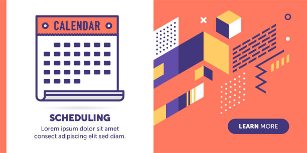 scheduling banner - abstract calendar stock illustrations, clip art, cartoons, & icons