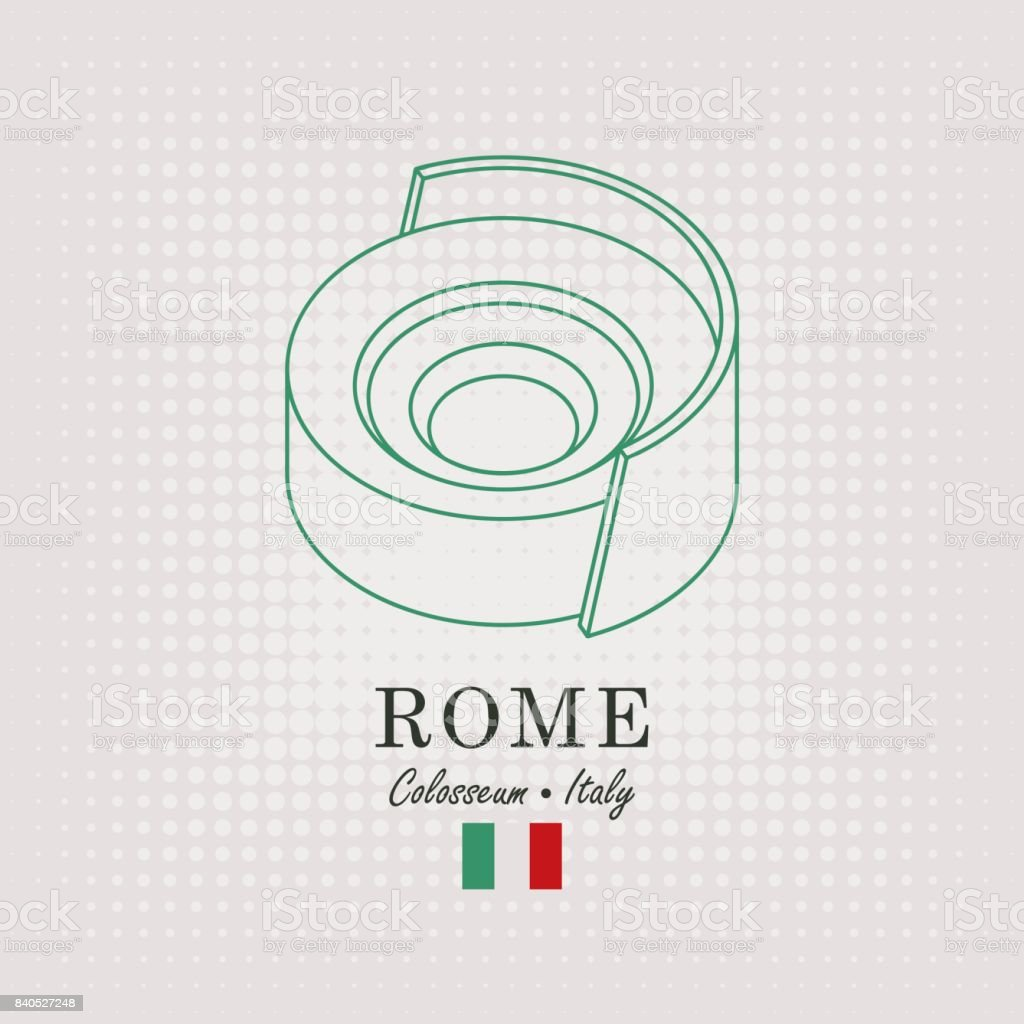 schematic drawing of the coliseum and italian flag vector art illustration