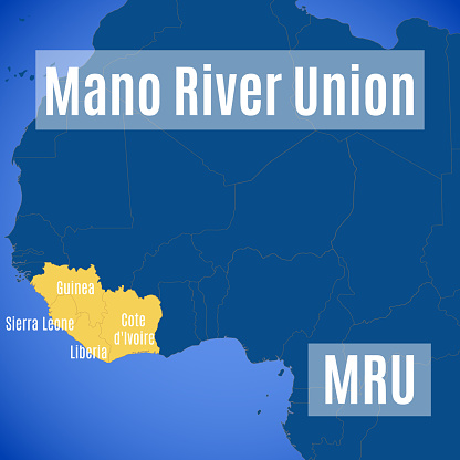 Schematic vector map of the Mano River Union (MRU).