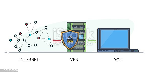 VPN protection. Line style laptop connected to protected vpn server. VPN server with shield connect to internet. Online secure connection. Computer virtual private network. Web security scheme.