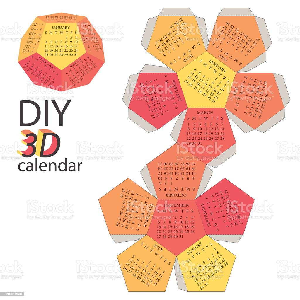 Scheme of 3d calendar do it yourself diy stock vector art more calendar 2015 conspiracy diy exoticism solutioingenieria Gallery