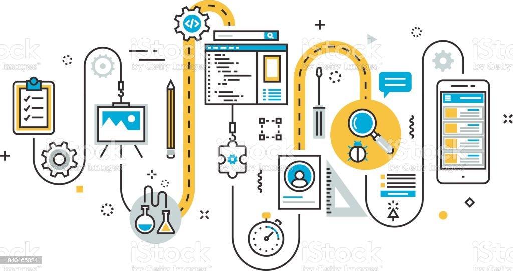 Scheme of mobile application development process for website banner vector art illustration