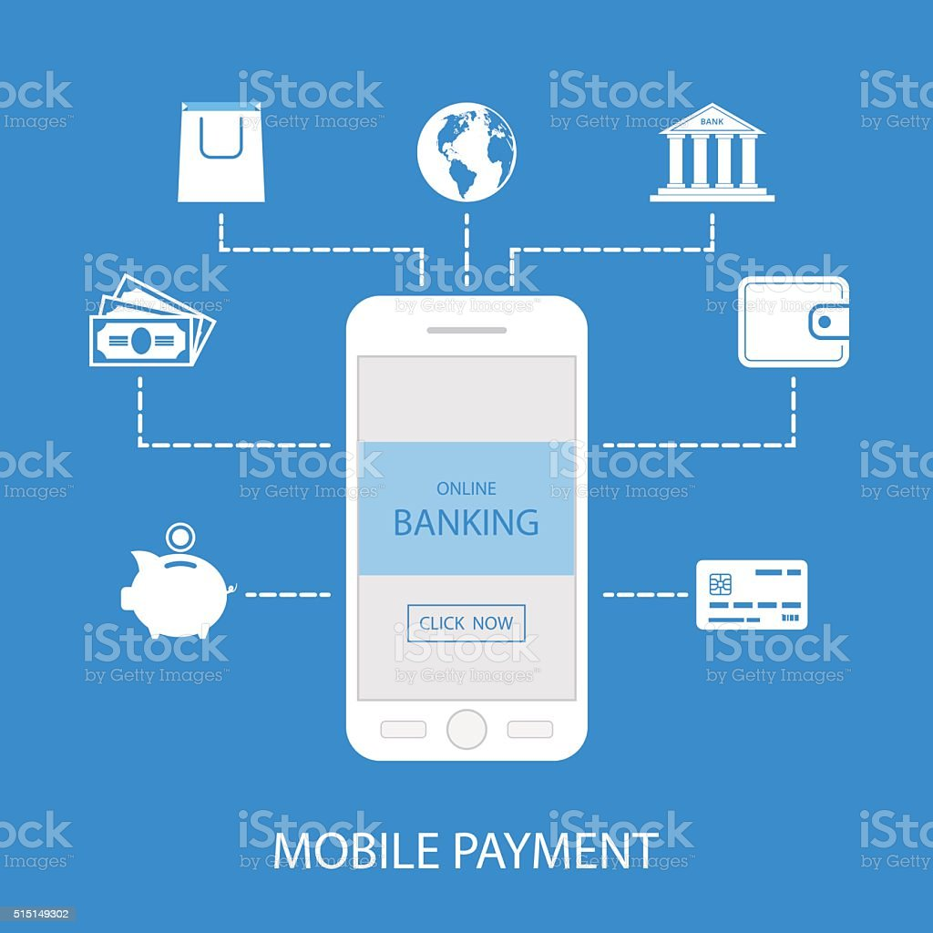 Scheme Of Mobile Payment Online Commerce Icons Stock Vector Art ...