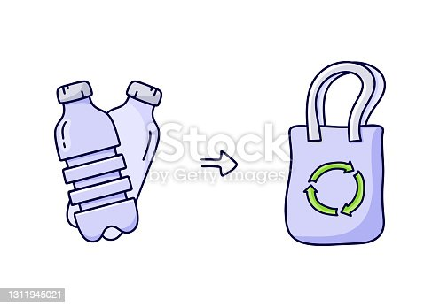 istock Scheme of recycling plastic bottles into shopping bag. Hand drawn simple illustration 1311945021