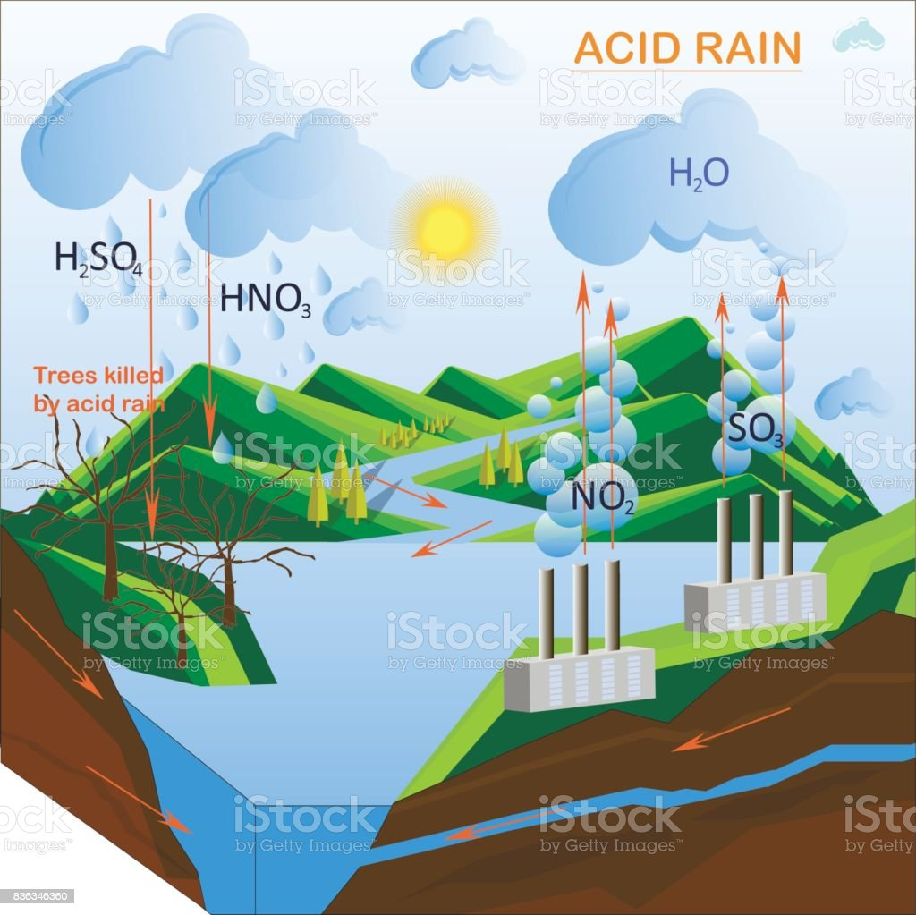 Scheme of the Acid rain vector art illustration