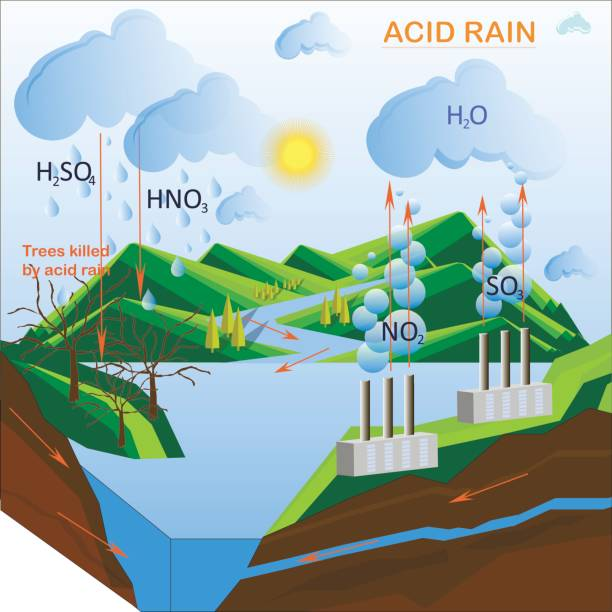Scheme of the Acid rain Scheme of the Acid rain, flats design vector illustration acid stock illustrations