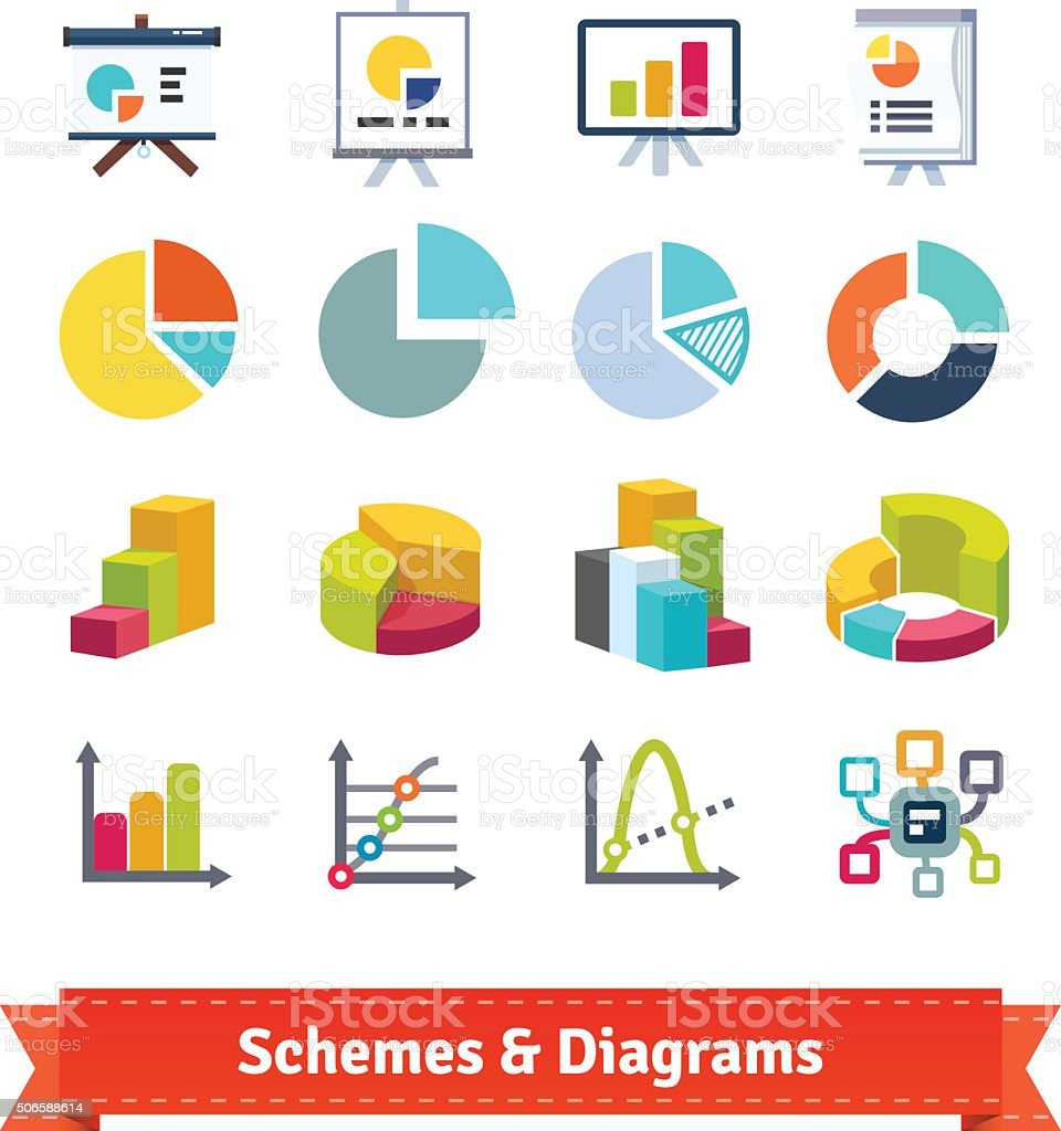 Schemes and diagrams for presentation vector art illustration
