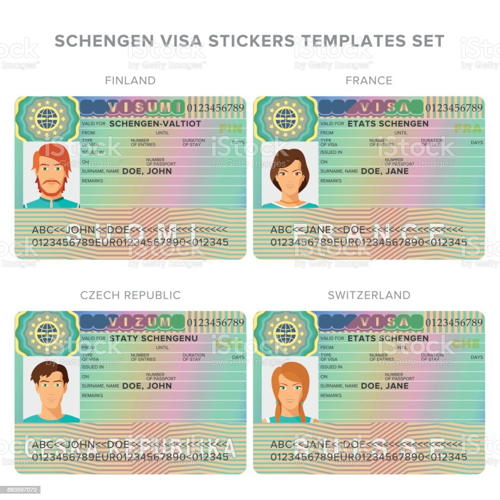 Schengenvisum Reisepass Aufkleber Vorlagen Für Finnland