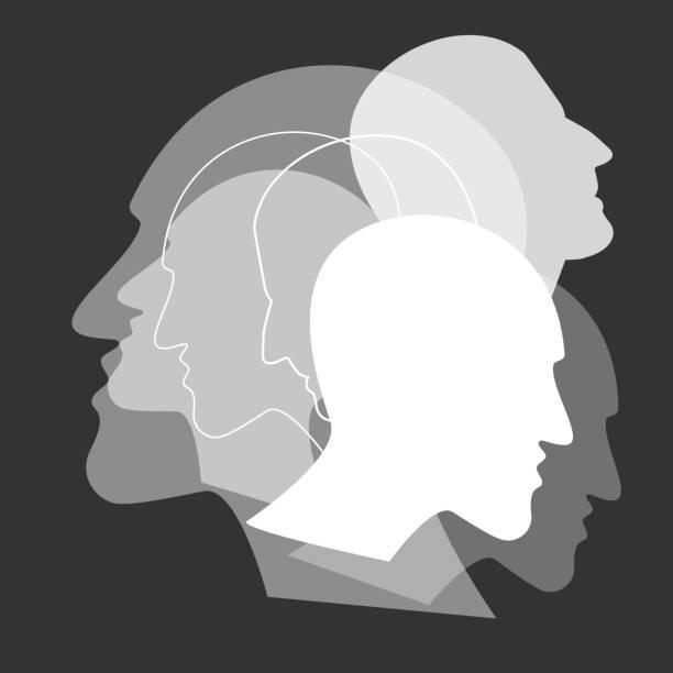 stockillustraties, clipart, cartoons en iconen met schizofrenie concept, symbool van depresion, dementie. vector ilustration. - paranoïde