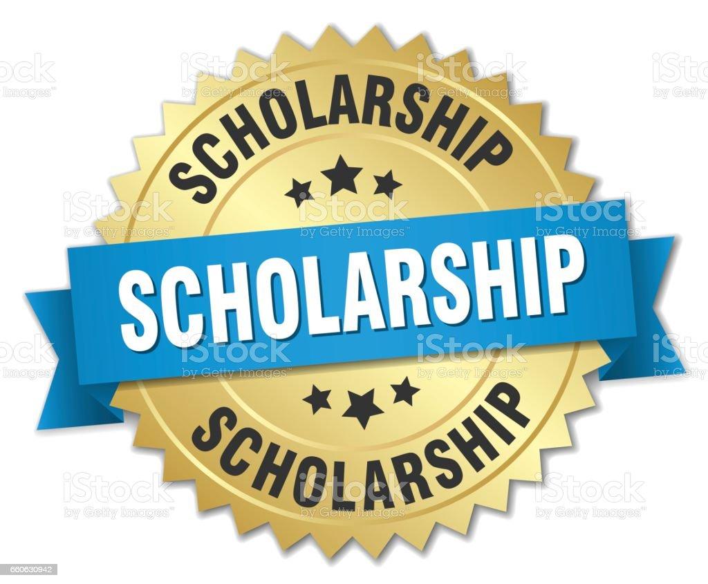 scholarship 3d gold badge with blue ribbon vector art illustration
