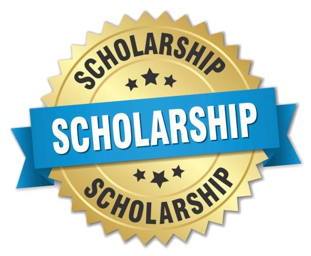 ilustraciones, imágenes clip art, dibujos animados e iconos de stock de scholarship 3d distintivo de oro con cinta azul - estudiar