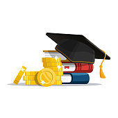 Education loan for pursuing. Graduation hat and stack of coins. Vector illustration in flat style.