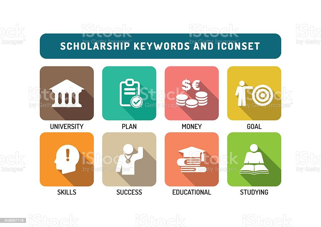 Scholarship Flat Icon Set vector art illustration