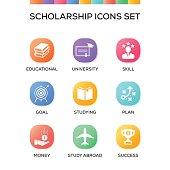Scholarship Icons Set on Gradient Background