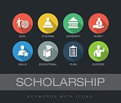 Scholarship chart with keywords and icons. Flat design with long shadows