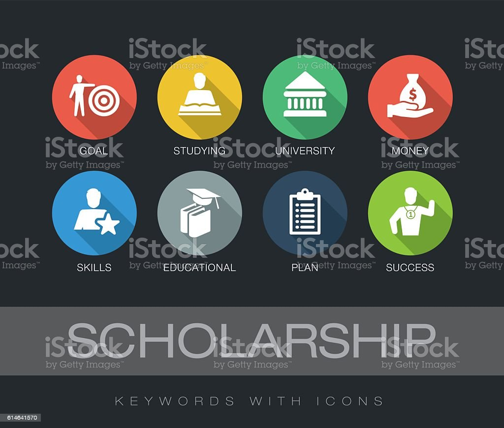 Scholarship keywords with icons vector art illustration