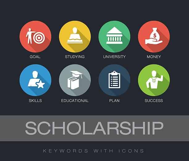 ilustraciones, imágenes clip art, dibujos animados e iconos de stock de scholarship keywords with icons - estudiar