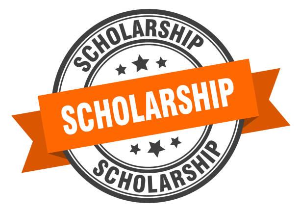 scholarship label. scholarship orange band sign. scholarship vector art illustration